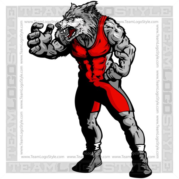 Wolf In Wrestling Pose - Clip Art Graphic