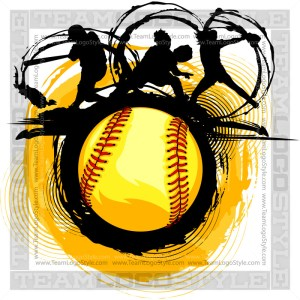 Fast Pitch Softball Design - Clip Art Graphic