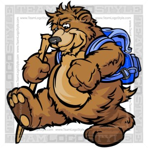 Hiking Bear Clip Art - Camping Cartoon