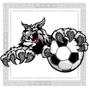 Wildcat Gripping Soccer Ball Clip Art Image