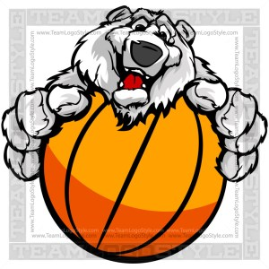 Happy Basketball Polar Bear - Cartoon Clip Art Image