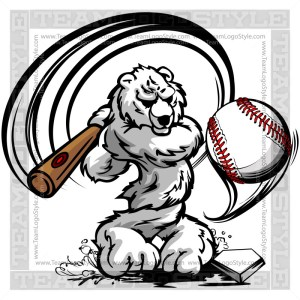 Polar Bear Hitting Baseball - Clip Art Cartoon