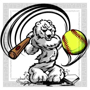 Polar Bear Hitting Softball - Clip Art Image