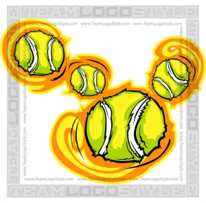 Cartoon Tennis Balls - Clip Art Graphic