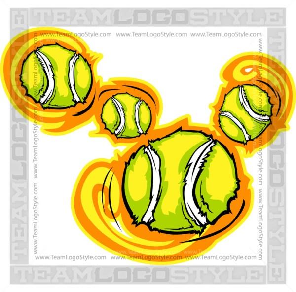 Cartoon Tennis Balls - Clip Art Graphic
