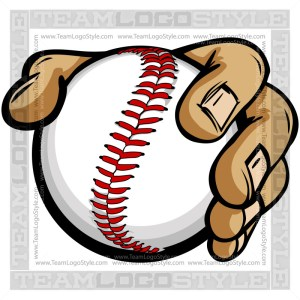 Hand Holding Baseball Cartoon - Clip Art Image