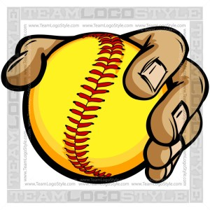 Hands Holding Softball Cartoon - Clip Art Image
