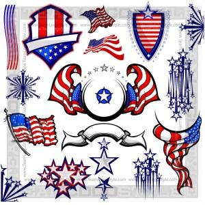 American Flag Clip Art - T-Shirt Design Set