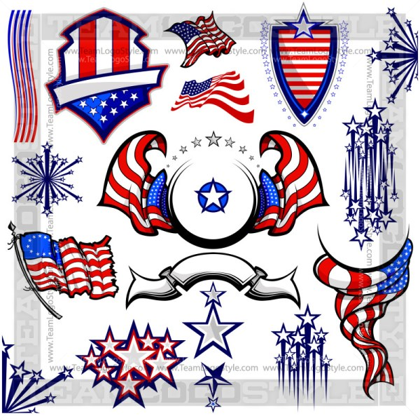 American Flag Clip Art - T-Shirt Design Set