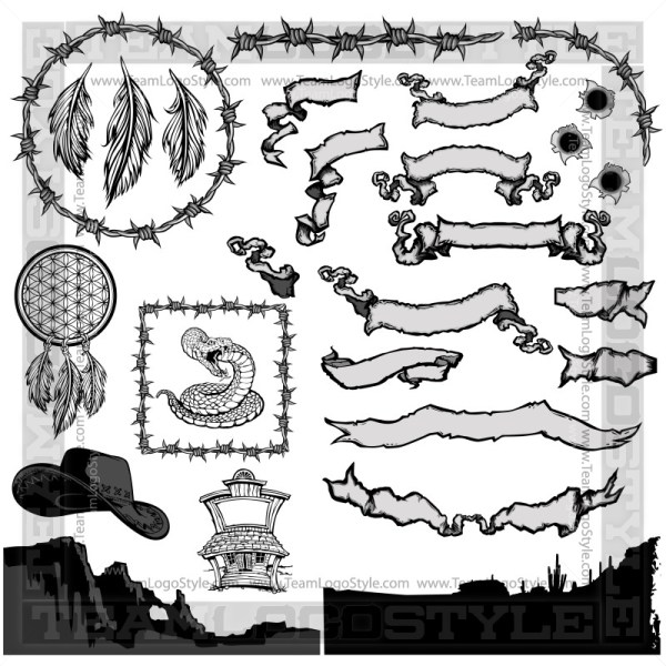 Western Clip Art Elements - T-Shirt Design Set