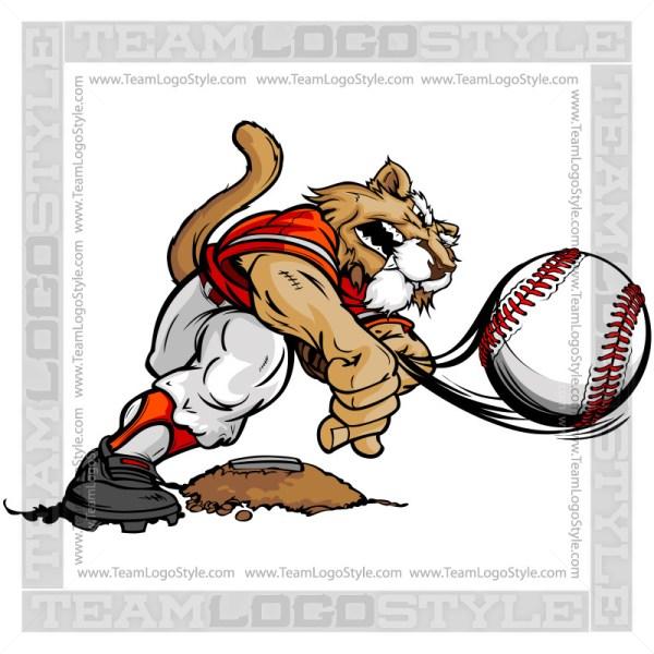 Cougar Baseball Clipart - Pitcher Cartoon