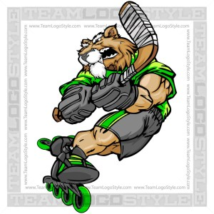 Cougar Roller Hockey Clipart - Mascot Cartoon