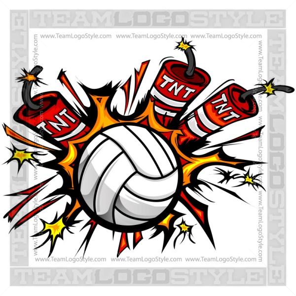 Dynamite Volleyball Logo - Clip Art