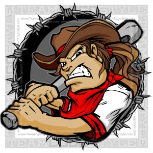 Softball Cow Girl Logo - Clip Art Cartoon Image