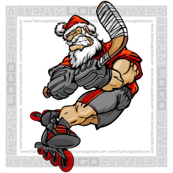Santa Roller Hockey Player - Cartoon Clip Art Image
