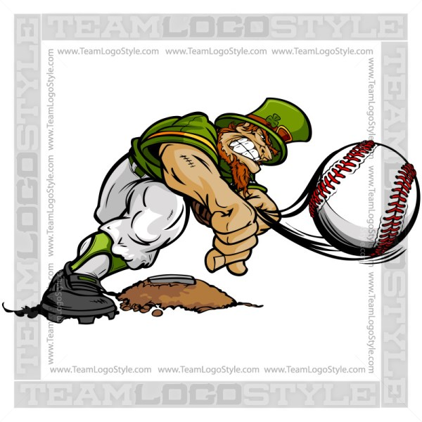 St Patricks Day Baseball Clip Art - Leprechaun