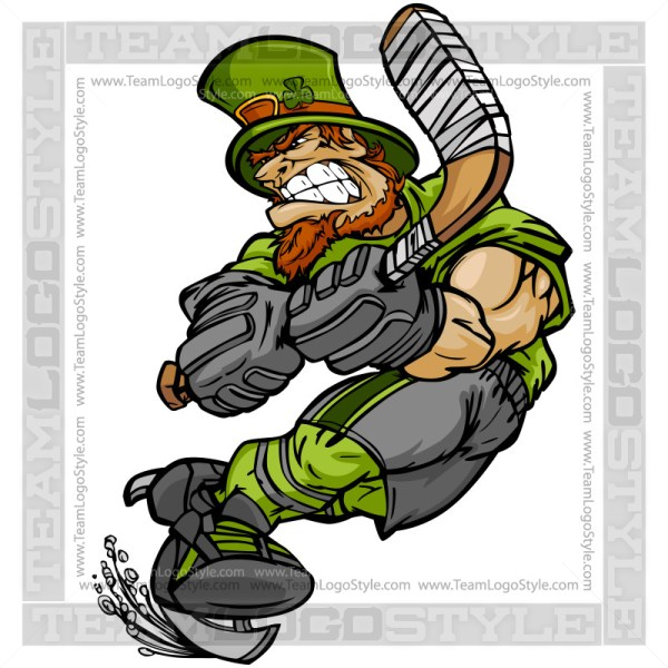 St Patricks Day Hockey Clip Art - Leprechaun