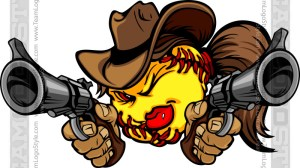 Cartoon Cowgirl Softball - Vector Clipart Image