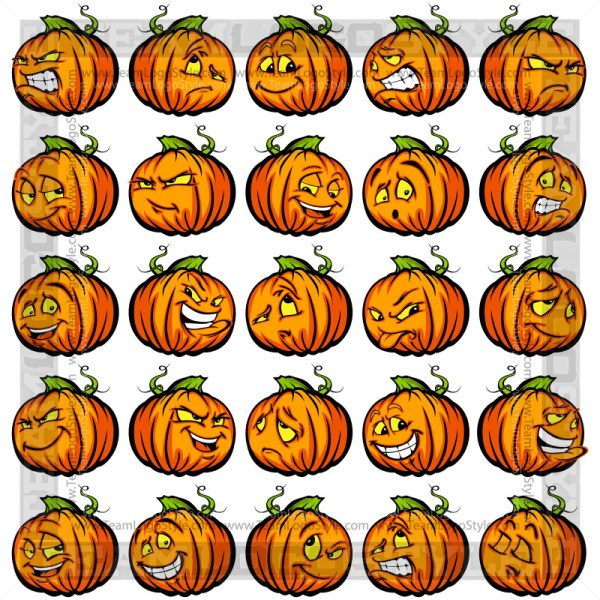 Pumpkin Cartoon Faces Clip Art Images