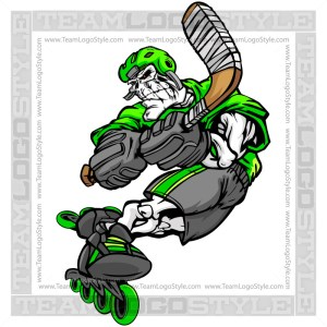 Skeleton Roller Hockey Cartoon