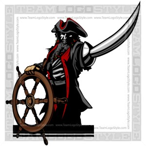 Pirate Skeleton Steering Ship - Clipart Vector Image