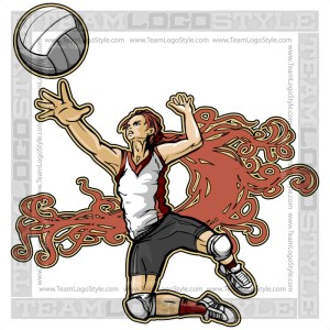 Spiking Volleyball Clip Art
