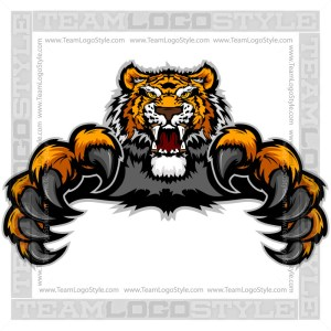 Attacking Tiger Clip Art