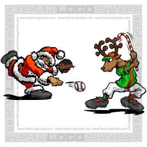 Santa Throwing Baseball