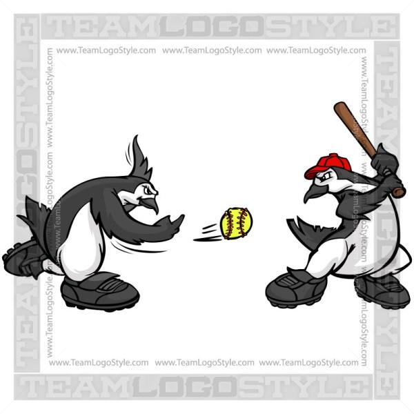 Penguins Playing Softball