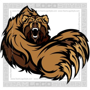 Grizzly Bear Clip Art - Vector Mascot Graphic
