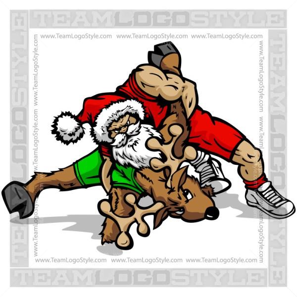Santa Wrestling Reindeer