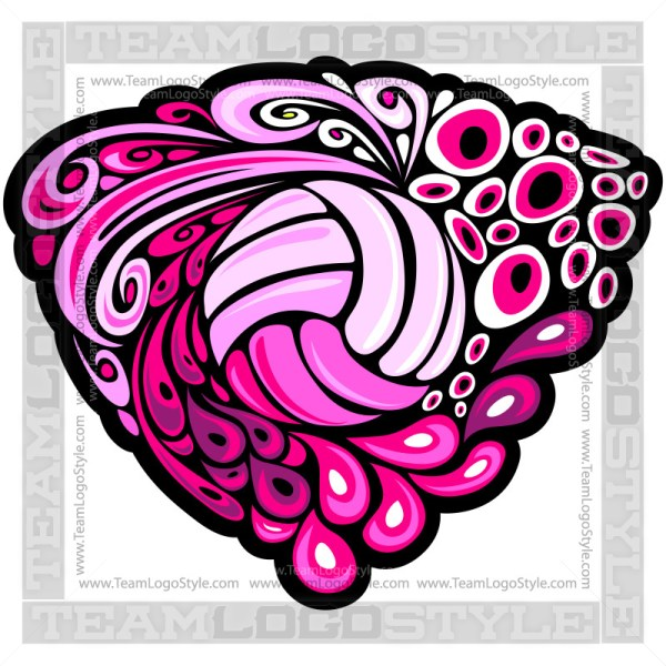 Groovy Pink  Volleyball Logo