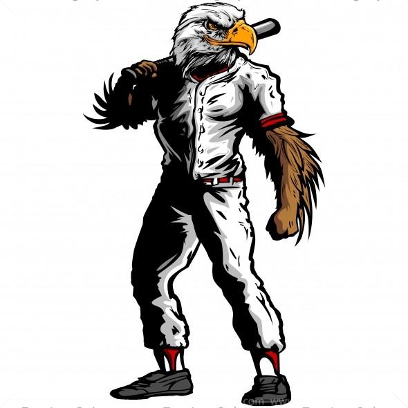 Eagle Baseball Player Silhouette