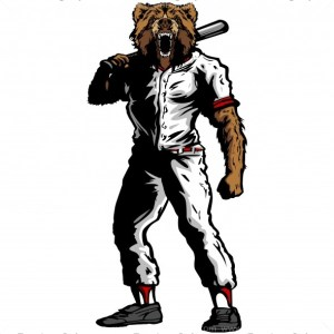 Grizzly Baseball Player Silhouette
