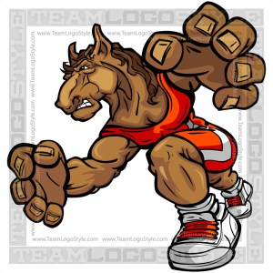Wrestling Mustang Cartoon