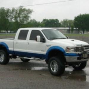 White blue truck