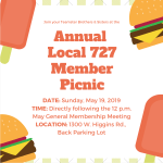 Join Your Fellow Teamster Brothers & Sisters for the Annual Local 727 Member Picnic this Sunday, May 19, Directly Following the Union's May General Membership Meeting