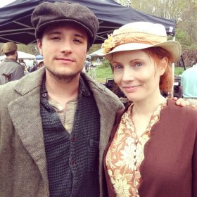 Kimberly Crandall and Josh Hutcherson. On-location of James Franco's feature film IN DUBIOUS BATTLE