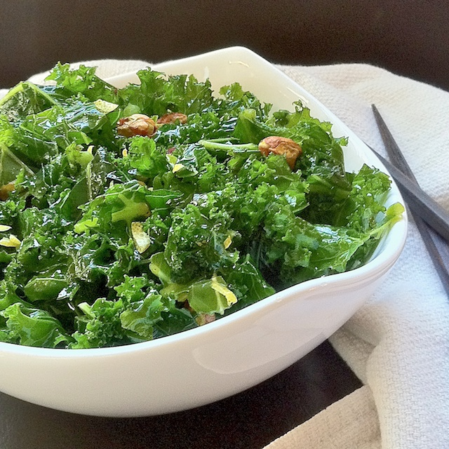 Raw Kale Salad with Pistachios | Teaspoonofspice.com