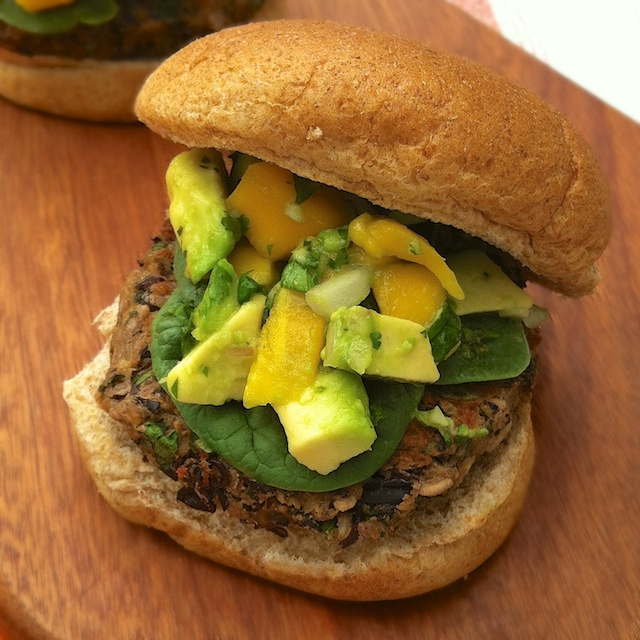 Black Bean Burgers with Mango Salsa | Teaspoonofspice.com