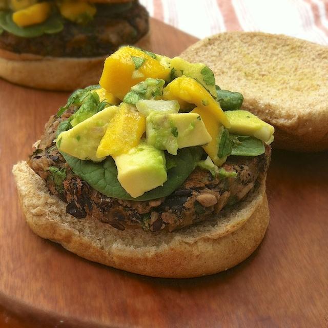 I chose to make these Black Bean Burgers with Mango Salsa