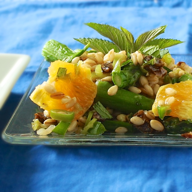 Orange Date Barley Salad with Mint | TeaspoonofSpice.com