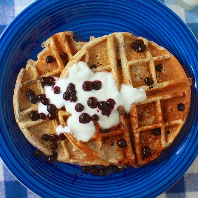 Wild Blueberry Oatmeal Waffles | Teaspoonofspice.com