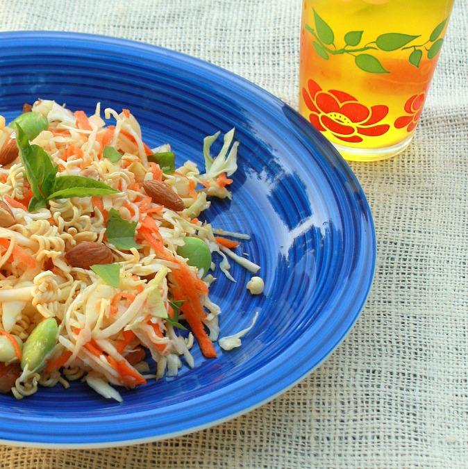 Lighter Cabbage Ramen Noodle Salad | TeaspoonOfSpice.com