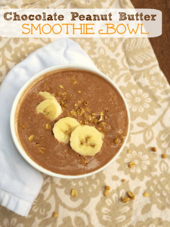 17 Smoothie Bowl recipes from food loving dietitians including this Chocolate Peanut Butter Smoothie Bowl @tspbasil