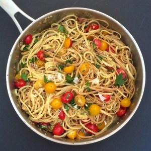 Spaghetti Carbonara with Tomatoes {The Recipe ReDux}