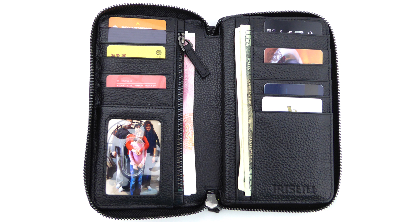 IrisLili Wristlet for iPhone 6s Plus- Card Slots View with Cards and Cash