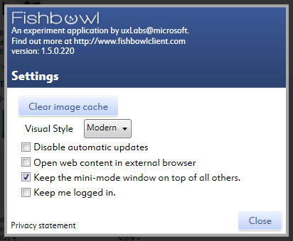 Fishbowl Settings1 Fishbowl : Facebook Desktop Application by Microsoft