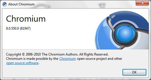 google chrome 8.0.550 build
