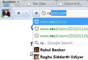 rockmelt browser google search and facebook friends